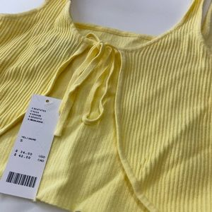 NWT UO Alli Tie-Back Cropped Yellow Tank Top